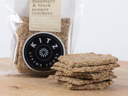 Rosemary & Black Pepper Crackers Organic 100g - Kitz