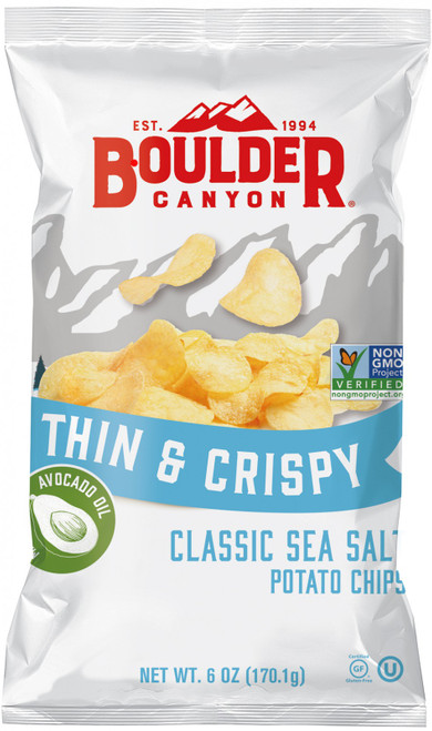 Potato Chips Thin & Crispy Salt (Avocado Oil) 170g  - Boulder Canyon
