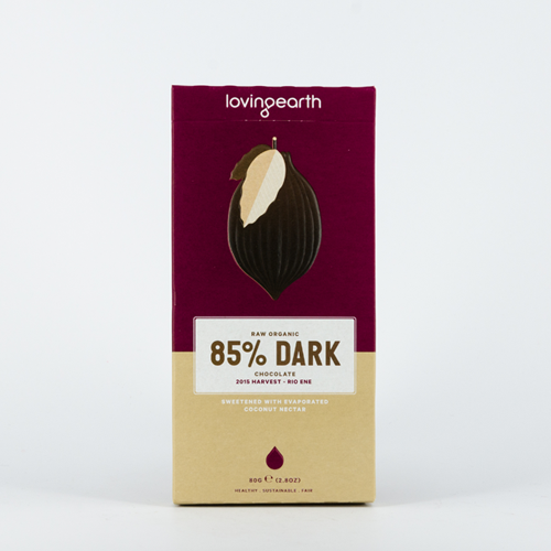 Dark Chocolate 85% Raw Organic 80g - Loving Earth