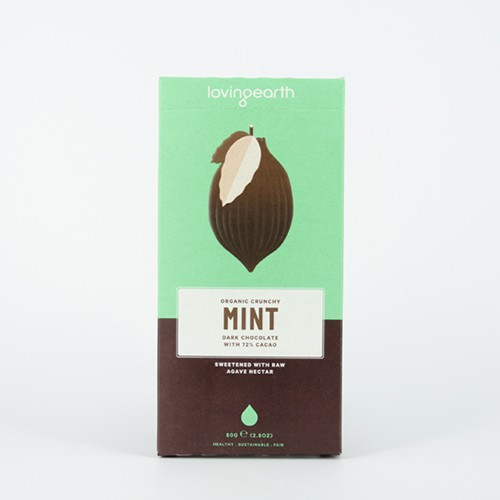 Crunchy Mint Dark Chocolate Raw Organic 80g - Loving Earth