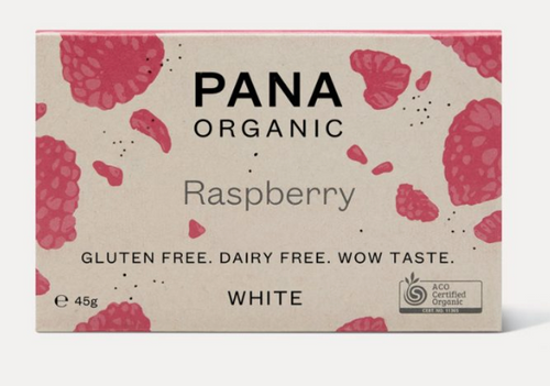 White Chocolate Raspberry Raw Organic 45g - Pana