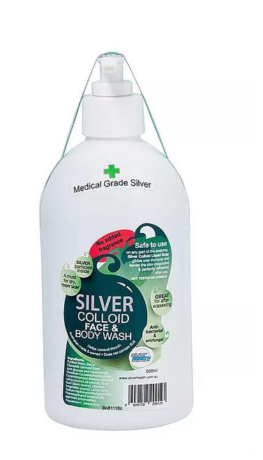 Body Wash Colloidal Silver Fragrance Free 500ml - Silver Health