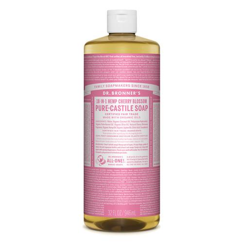 Cherry Blossom Pure Castile Hemp Soap 946ml - Dr Bronner