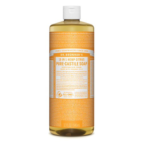 Citrus Orange Pure Castile Hemp Soap 946ml - Dr Bronner