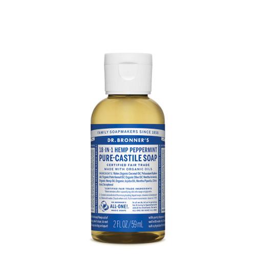 Peppermint Pure Castile Hemp Soap 59ml - Dr Bronner