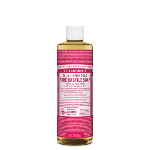 Rose Castile Hemp Liquid Soap 473ml - Dr Bronner