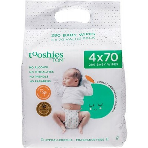 Baby Wipes Value Pack 4 x 70 Wipes - Tooshies By Tom