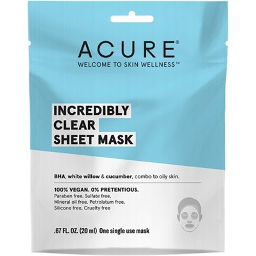 Face Sheet Mask Incredibly Clear 20ml - Acure