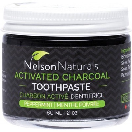 Toothpaste Activated Charcoal Whitening Peppermint jar 60ml  - Nelson Naturals