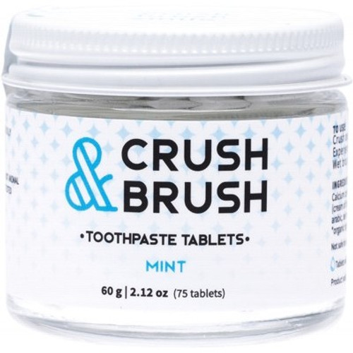Toothpaste Tablets Crush & Brush Mint jar 60ml  80 tablets- Nelson Naturals