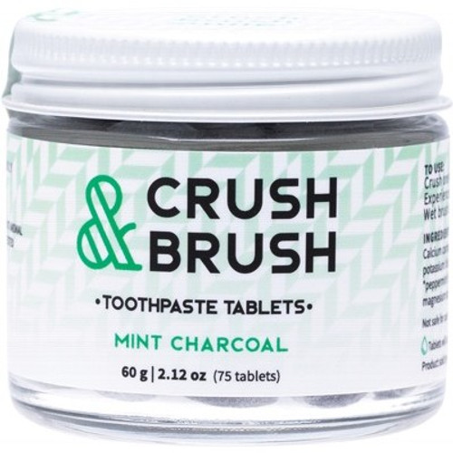 Toothpaste Tablets Crush & Brush Mint Charcoal jar 60ml  80 tablets- Nelson Naturals