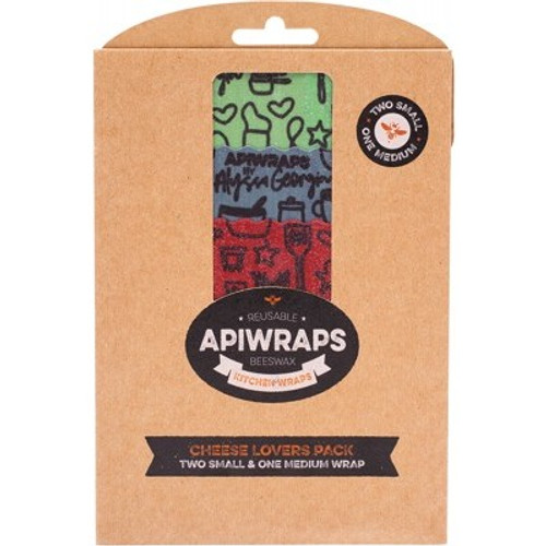 Wraps Reusable Beeswax Cheese Lovers Pack 2 X Sml & 1 X Med - Apiwraps