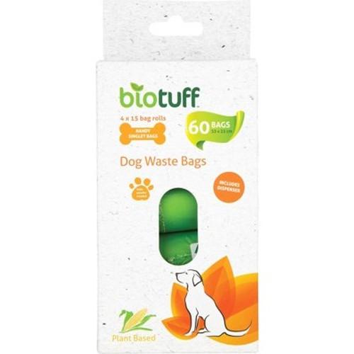Dog Waste Bags & Dispenser 4 X 15 Bag Rolls - Biotuff
