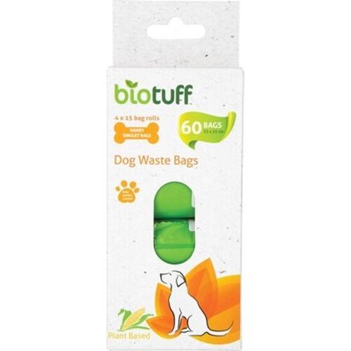 Dog Waste Bags Refill 4 X 15 Bag Rolls - Biotuff