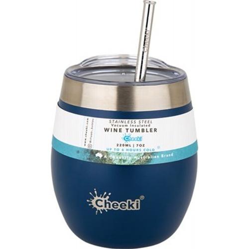 Wine Tumbler Insulated Sapphire Blue With Straw 220ml - Cheeki