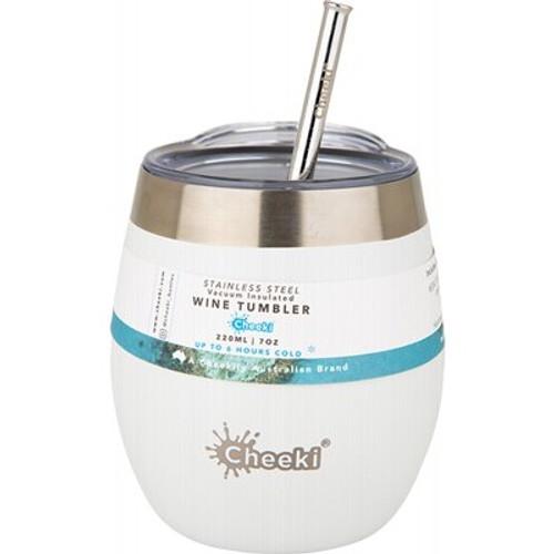 Wine Tumbler Insulated Spirit White With Straw 320ml - Cheeki