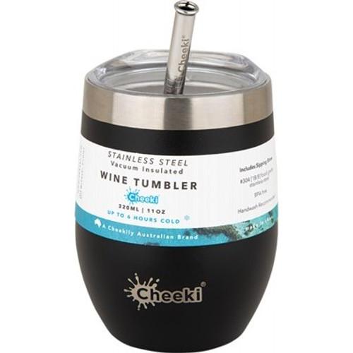 Wine Tumbler Insulated Rich Black - With S/Steel Straw 320ml - Cheeki