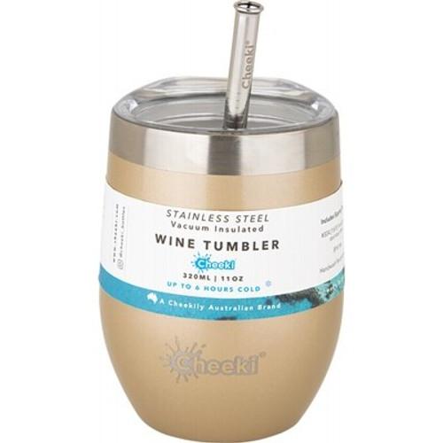 Wine Tumbler Insulated Soft Gold - With S/Steel Straw 320ml - Cheeki
