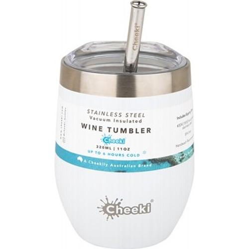 Wine Tumbler Insulated Spirit White - With S/Steel Straw 320ml - Cheeki