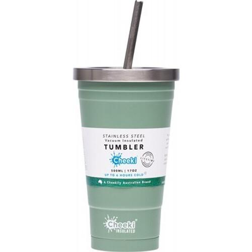 Cup/Tumbler Insulated Pistachio - With S/Steel Straw 500ml - Cheeki