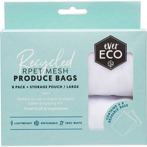 Produce Bags Recycled Polyester Mesh 8pack - Ever Eco