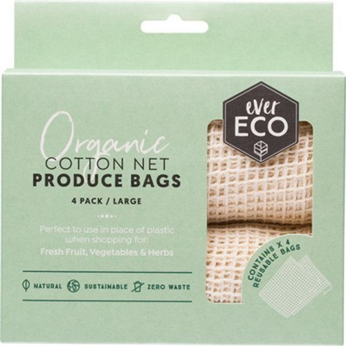 Produce Bags Organic Cotton Net 4 pack - Ever Eco