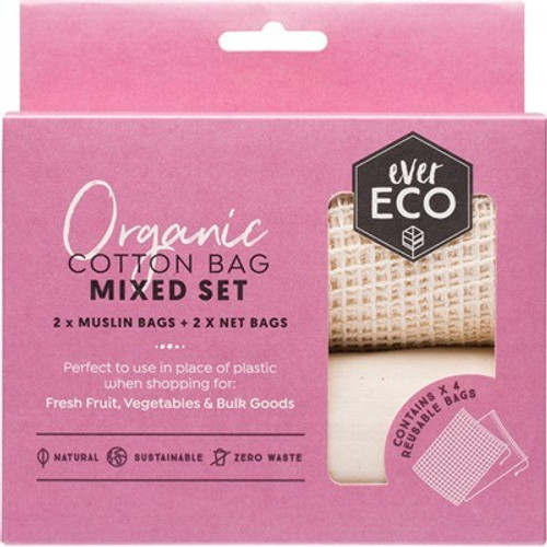 Produce Bags Organic Cotton Mixed Net/Muslin 4 pack - Ever Eco