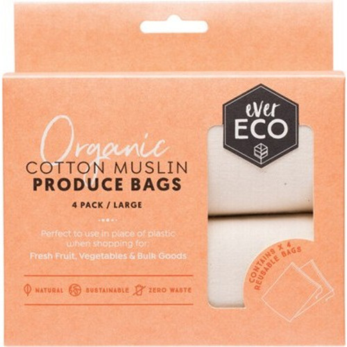 Produce Bags Organic Cotton Muslin 4 pack - Ever Eco
