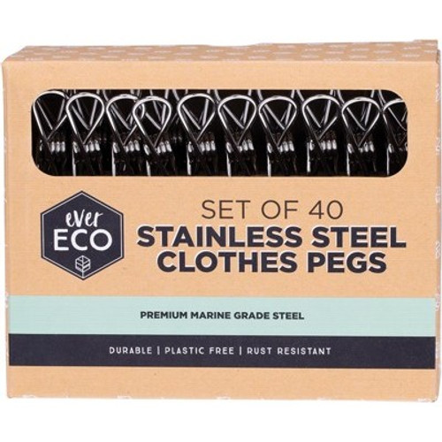 Clothes Pegs Premium Marine Grade Stainless Steel 40 pack - Ever Eco