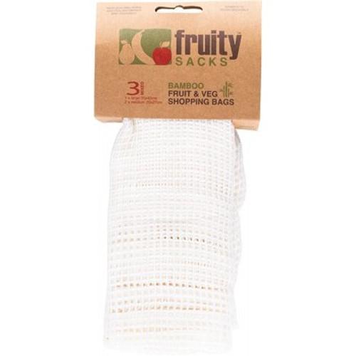 Shopping Bags Reusable Bamboo Fruit & Veg 1 x Large, 2 x Medium  - Fruity Sacks
