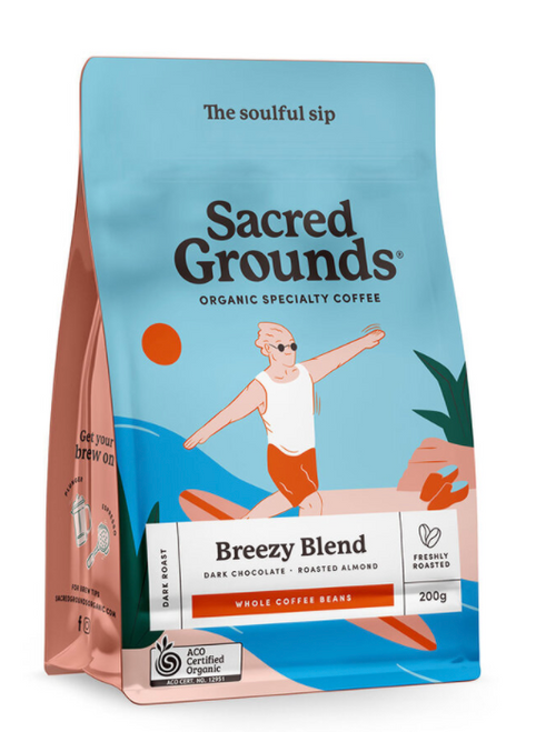 Coffee Whole Bean Breezy Blend Organic 250g - Sacred Grounds