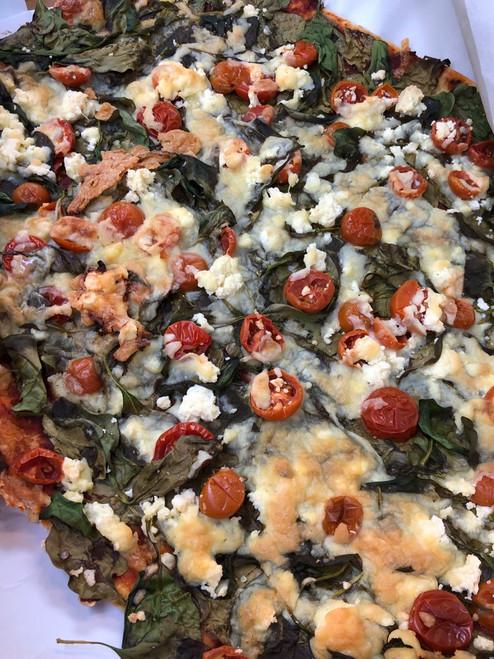 Spinach, Tomato & Feta Pizza slice - Sol