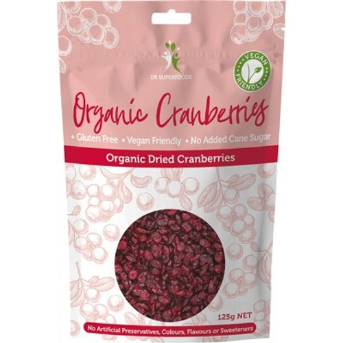 Cranberries Dried Organic 125g - Dr Superfoods