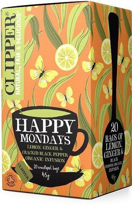 Happy Mondays Lemon, Ginger & Black Pepper Tea Organic 20 bags - Clipper