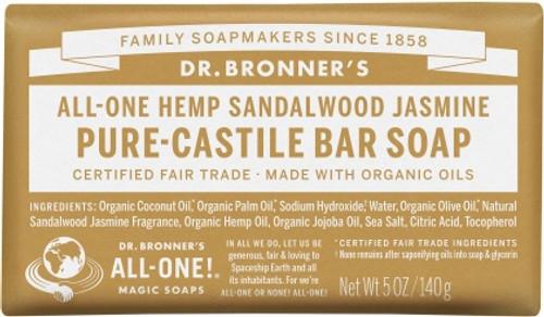 Soap Bar Castile Sandalwood Jasmine 140g - Dr Bronners