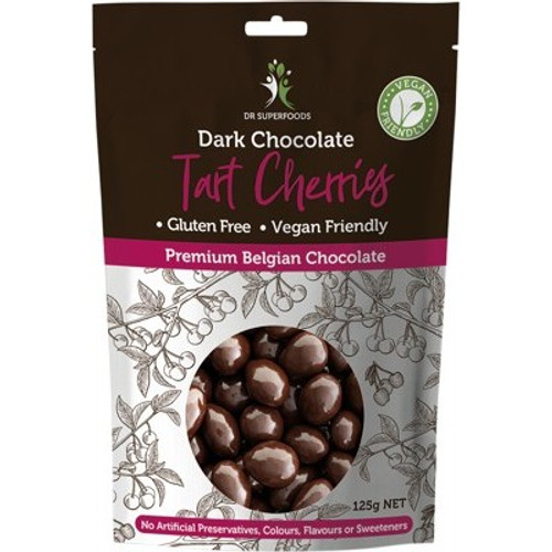 Tart Cherries Dried Dark Chocolate coated 125g - Dr Superfoods