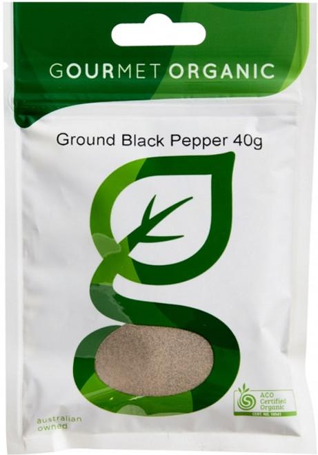 Pepper Ground Black Organic 45g - Gourmet Organics