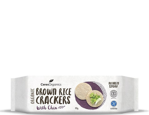 Brown Rice Crackers with Chia Organic 115g  - Ceres