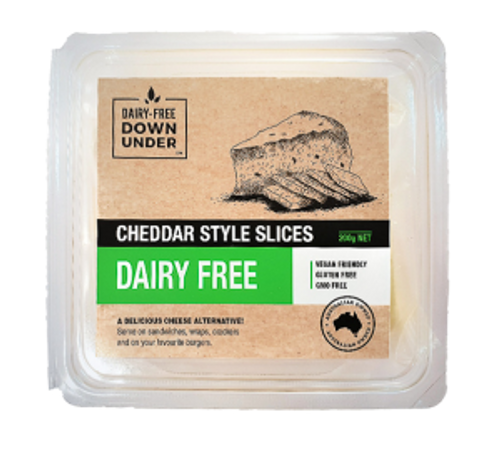 Cheddar Style Slices Dairy Free Vegan 200g - Dairy Free Down Under