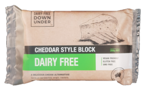 Cheddar Style Block Dairy Free Vegan 200g - Dairy Free Down Under