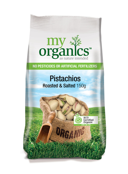 Pistachios Dry Roasted & Salted Organic 150g - My Organics