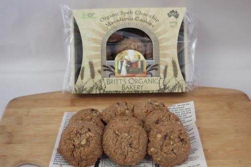 Spelt Choc Chip Macadamia Cookies - Britts Organic
