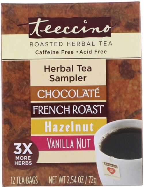 Herbal Coffee/Tea Herbal Tea Sampler (Chocolate, French Roast, Hazelnut, Vanilla Nut) 12 Bags - Teeccino