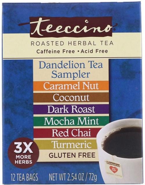 Herbal Coffee/Tea Herbal Dandelion Tea Sampler (Caramel, Coconut, Dark Roast, Red Chai, Mocha Mint, Turmeric) 12 Bags - Teeccino