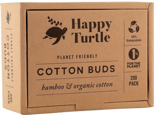 Cotton & Bamboo Cotton Buds Organic Pk 200 - Happy Turtle