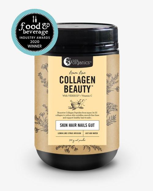Collagen Beauty + Verisol & Vit C Lemon Lime 300g Tub - Nutra Organics