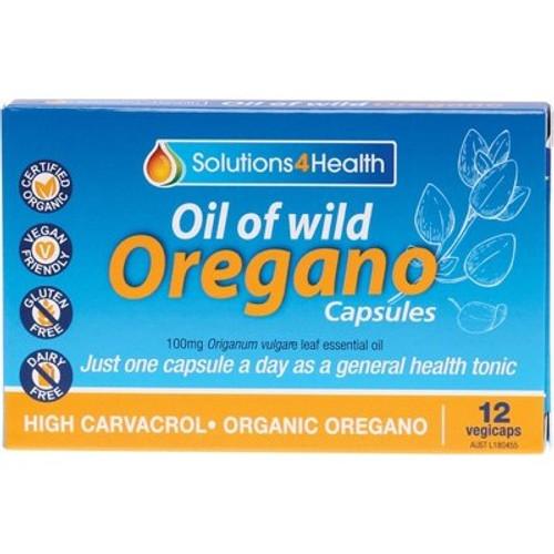 Oil of Wild Oregano Organic 12 Vegecaps - Solutions 4 Health