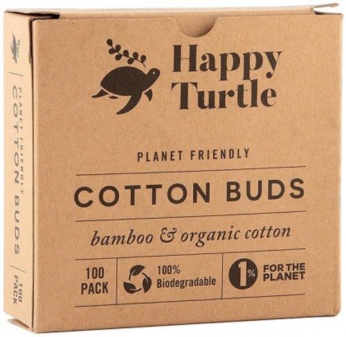 Cotton & Bamboo Cotton Buds Organic Pk 100 - Happy Turtle