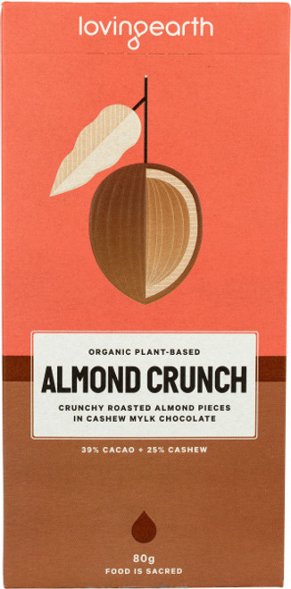 Almond Crunch Chocolate Raw Organic 80g - Loving Earth