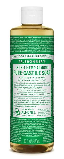 Soap Liquid Castile Hemp Almond 473ml - Dr Bronners